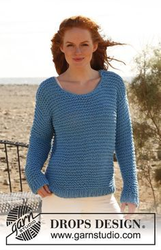 """Knitted DROPS jumper in garter st in """"Ice"""". ~ DROPS Design"""