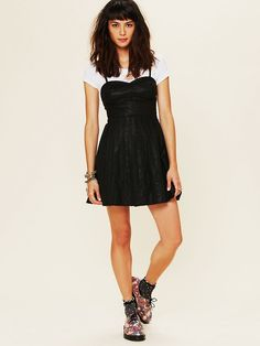 Free People Vegan Leather Fit and Flare Dress - swoon.