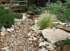 Dry river bed and large rocks to sit or stand on.