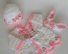Baby, Baby Weihnachten Kleid, Neugeborene Kleid, Baby-Dusche-Geschenk, häkeln Baby, kommen nach Hause Outfit Blume Babykleid, Baby-Geschenk-ide