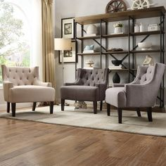 TRIBECCA HOME Tess Wingback Tufted Linen Upholstered Club Chair - Overstock Shopping - Great Deals on Tribecca Home Living Room Chairs
