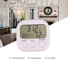 LCD Digital Thermometer Hygrometer Temperature Humidity Meter Gauge With Clock 2017 New Weather Station