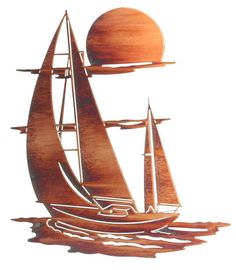 Sunset Sails Nautical Laser Cut Steel | 24"