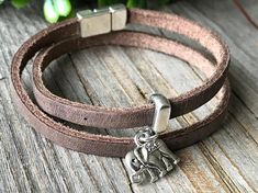 Bracelet with elephant  woman brown bracelet leather wrap