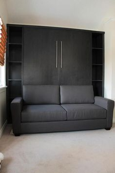 Decorate your room in a new style with murphy bed plans Cama Murphy, Murphy-bett Ikea, Tyni House, Horizontal Murphy Bed, Bedroom Furniture, Bedroom Decor, Modern Murphy Beds, Home Entertainment Centers, Murphy Bed Plans