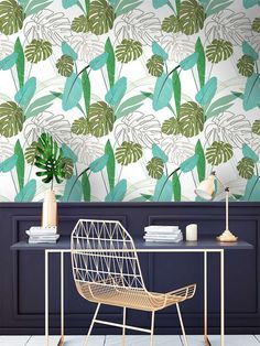 Bring the walls of your home to life with this incredible design wallpaper mural featuring palm leaves. Our botanical pattern is available in three colours. Palm Leaf Wallpaper, Designer Wallpaper, Modern Wall, Pattern Wallpaper, Pattern Design, Study, The Incredibles, Leaves, Rooms