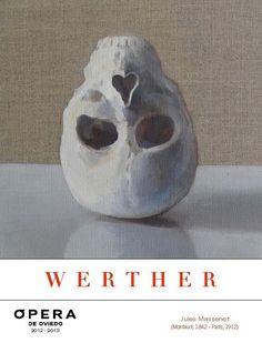 'El amor nos vuelve la cabeza del revés', del pintor Federico Granell, portada del programa de mano del Werther para la Ópera de Oviedo