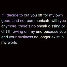 Cutting people off