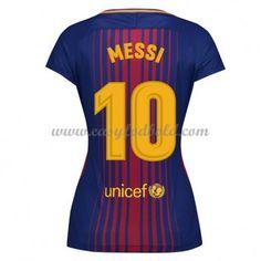 Barcelona Dame Fodboldtrøjer 2017-18 Lionel Messi 10 Hjemmetrøje