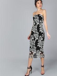 Vestido bandeau con estampado de flor - negro -Spanish SheIn(Sheinside)