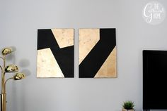 Black Gold Room DIY Gold Leaf and Black Canvas Art - This DIY abstract black and gold leaf art makes a simple but striking addition to your decor! Not an artist? No problem! Black Canvas Art, Gold Canvas, Canvas Wall Art, Diy Wall Painting, Diy Wall Art, Diy Art, Wall Decor, Gold Leaf Art, Leaf Wall Art