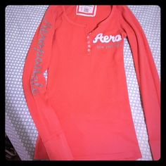 Aeropostale thermal Henley type shirt Coral colored Aeropostale shirt. Buttons in front. Long sleeves. Aeropostale Tops Tees - Long Sleeve