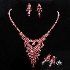свадебные Элегантные горный хрусталь кристалл серьги и ожерелье комплект ювелирных изделий – RUB p. 900,73