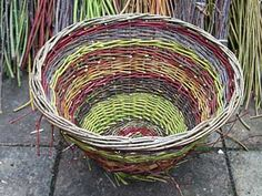 Hedgerow basket with freshly cut willows, dogwoods, lime and blackthorn. Stella Harding