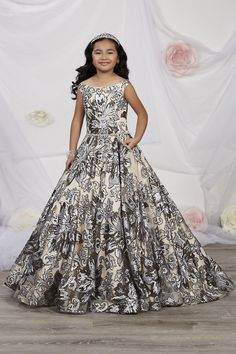 Tiffany Princess 13532 is a sleeveless metallic floral sequin girl's pageant gown that has an off-shoulder neckline. This modern ball gown has front pockets with a rhinestone waistband and a sweeping train with lace-up back. Girls Fancy Dresses, Girls Pageant Dresses, Gowns For Girls, Pageant Gowns, Homecoming Dresses, Nice Dresses, Princess Dresses, Baby Dresses, Formal Dress Stores