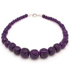 Splendette Carved Purple Bead Necklace