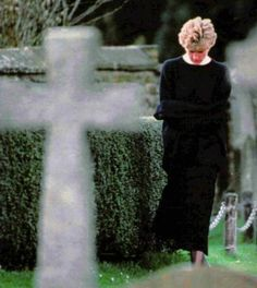 Diana on the day she carried her father's ashes.  His remains were interred at the 13th century Church of St Mary the Virgin, Great Brington which is the nearest village to Althorp Park.