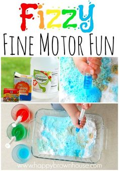 Fizzy Fine Motor Fun for Preschoolers~Let kids have a little science fun while strengthening their fine motor skills at the same time. Perfect for preschoolers.