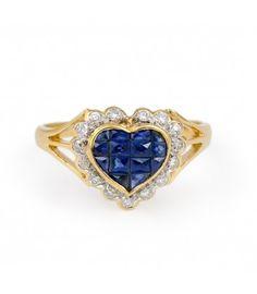 Sortija Corazón de Zafiros y Orla de Diamantes. En subasta online.
