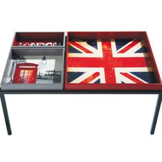union jack table - I love this! It could be decorated with so much more that Union Jack theme, too!! I'm gonna have to keep this in mind for sitting room! - H. Scott