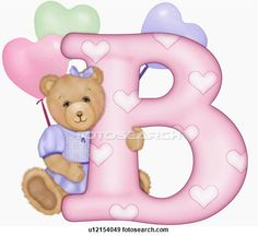 The capital letter B with teddy bear