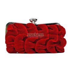 Pochette soirée rouge en satin plissé style vénitien froufrou pochette femme sac à main pas cher
