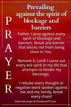 Spiritual Warfare Prayer against the spirit of blockage and barriers Prayer Times, Prayer Scriptures, Bible Prayers, Faith Prayer, God Prayer, Prayer Quotes, Deliverance Prayers, Holy Spirit Prayer, Praying In The Spirit