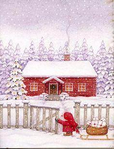 Eva Melhuish Boxed Christmas Cards - Christmas Text - Click Image to Close Christmas Text, Boxed Christmas Cards, Swedish Christmas, Christmas Drawing, Christmas Paintings, Noel Christmas, Xmas Cards, Winter Christmas, Christmas Crafts