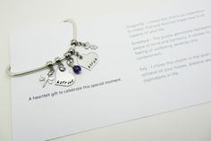 Create a unique charm bracelet for Mum - each charm and gemstone has a different meaning. A sentiment card details all of the meanings - perfect when you can't find the words to express how you feel.