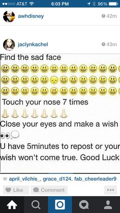 Just do it for fun :P Do You Believe, I Need You, Make A Wish, Im Dying Inside, Chain Messages, Scary Facts, Funny Test, Sad Texts, Sad Faces