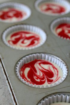 One of the cheesecakes I am making for my sisters wedding.. YUMMO!!!!! raspberry swirl cheesecake cupcakes 5 by annieseats, via Flickr