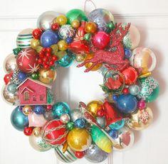 Vintage Ornament Wreath Shiny Brite