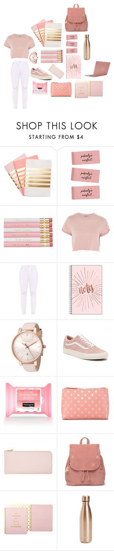 """""""BTS: pink edition"""" by ilovepandas05 ❤ liked on Polyvore featuring StudioSarah, Topshop, Ted Baker, Vans, Shiraleah, TOMS, Kate Spade, S'well and Incase"""