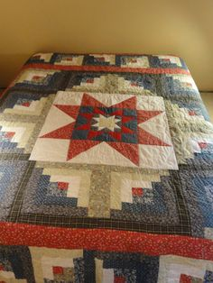 Handmade Ohio Star and Log Cabin Patchwork Quilt.  Americana colors, blues, reds and white. - Etsy