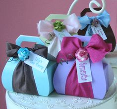 Personalized Purse Box Favors with Treats and Ribbon (8 Colors)