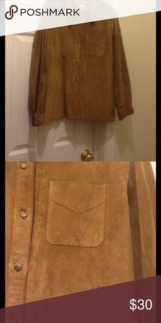 Leather button down shirt Leather button down shirt, top button missing Tops Button Down Shirts