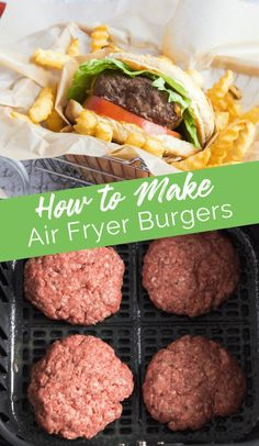 How to Make Air Fryer Burgers - a quick way to make tasty burgers when it's too cold to grill! Air Fryer Oven Recipes, Air Frier Recipes, Air Fryer Dinner Recipes, Grill Recipes, Salmon Recipes, Beef Recipes, Air Fryer Cooking Times, Cooks Air Fryer, Air Fried Food