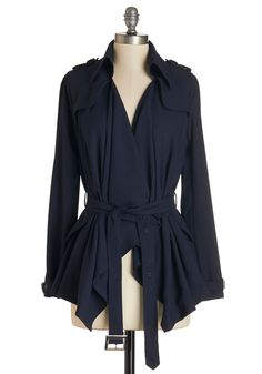 Such Drape Heights Jacket. You'll shoot straight to the top of every blogs best dressed list when youre photographed wearing this navy-blue jacket! #blue #modcloth