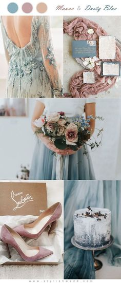 Mauve and Dusty Blue Wedding Color Palette, Spring Weddings, Neutral Weddings, Muted wedding ideas - Perfect Wedding, Dream Wedding, Wedding Day, Wedding Table, Wedding Poses, Summer Wedding, Dusty Blue Weddings, Spring Weddings, March Weddings