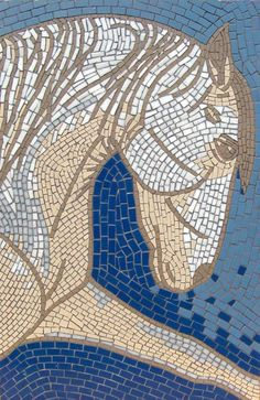 """""""The White Horse"""" - mosaic - by Sue Kershaw"""