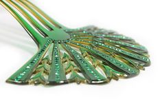 SOLD - Spectacular Celluloid Hair Comb with Emerald Green by AgeofPlastic, $90.00