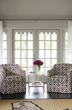 David Hicks La florentina Fabric on great chairs!!  And french doors!!