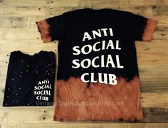 Anti Social Social Club Bleached Distressed Tee that I custom made... This Tee is Hand Bleached and features handmade grinded edges along the bottom hem, sleeves, and neck opening, for a light distressed look. 100% Ring Spun Pre-Shrunk Cotton - for a very soft and premium feel. This is not made on a standard Gildan Tee its on a very premium Tee Shirt that i guarantee you will love to wear. High quality light colored cream print that will not crack!  Made from one fan to another, you will…