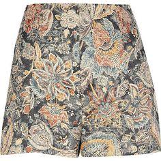 Black tapestry print Chelsea Girl shorts - smart shorts - shorts - women