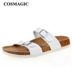 a7a577e301ed71 2017 New Summer Cork Slippers Shoe Women Casual Mixed Color PU Flip Flops  Beach Sandal Slides