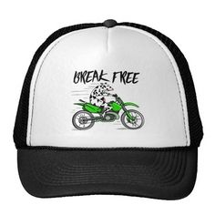 Cartoon cow riding a motorbike trucker hat