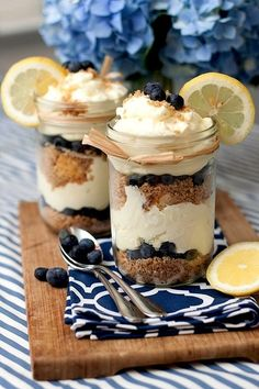 Blueberry + Lemon Mousse Cake in a jar - Summer Cuisine