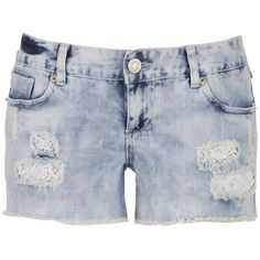 maurices Kaylee Lace Lined Destructed Bleach Wash Shorts (45 CAD) ❤ liked on Polyvore featuring shorts, pants, light sandblast, lace shorts, zipper pocket shorts, pocket shorts, lacy shorts and lined shorts