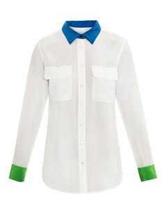 Equipment colour block signature silk shirt