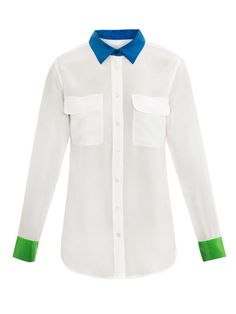 532fcb9bc0da Equipment colour block signature silk shirt Pleated Shirt